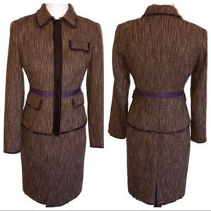 Etcetera Tweed Fringe Trimmed Two Piece Skirt Suit